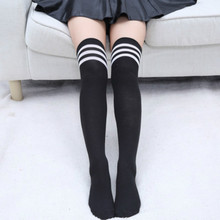 Sexy Striped Knee Socks Women Thigh High Over The Knee Stocking Warm Japanese School Student Black Striped Long Sock