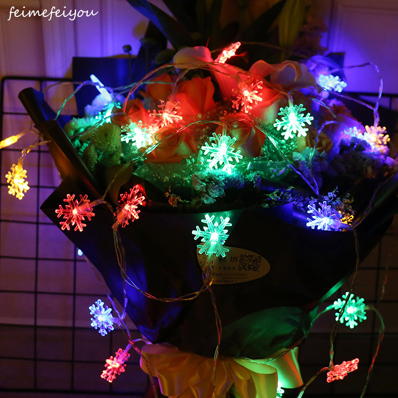 4/8/10m LED Snowflake String Lights Battery Power For Christmas Garland Party Wedding Decoration Holiday Fairy Lights String