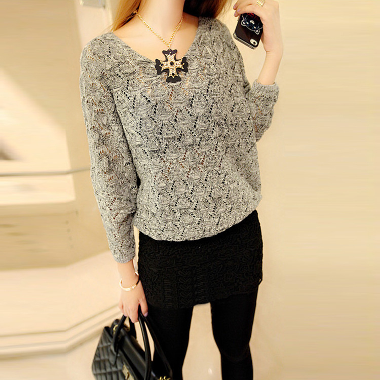 2018 Autumn Sweater Women Fashion Knitted Loose Sweater Female Pullovers Jumper V Neck Long Sleeve Sexy Sweater Pull Femme