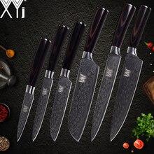 XYj набор кухонных ножей 7cr17 набор ножей из нержавеющей стали Новое поступление 2018 Дамасские жилы кухонные ножи аксессуары инструменты