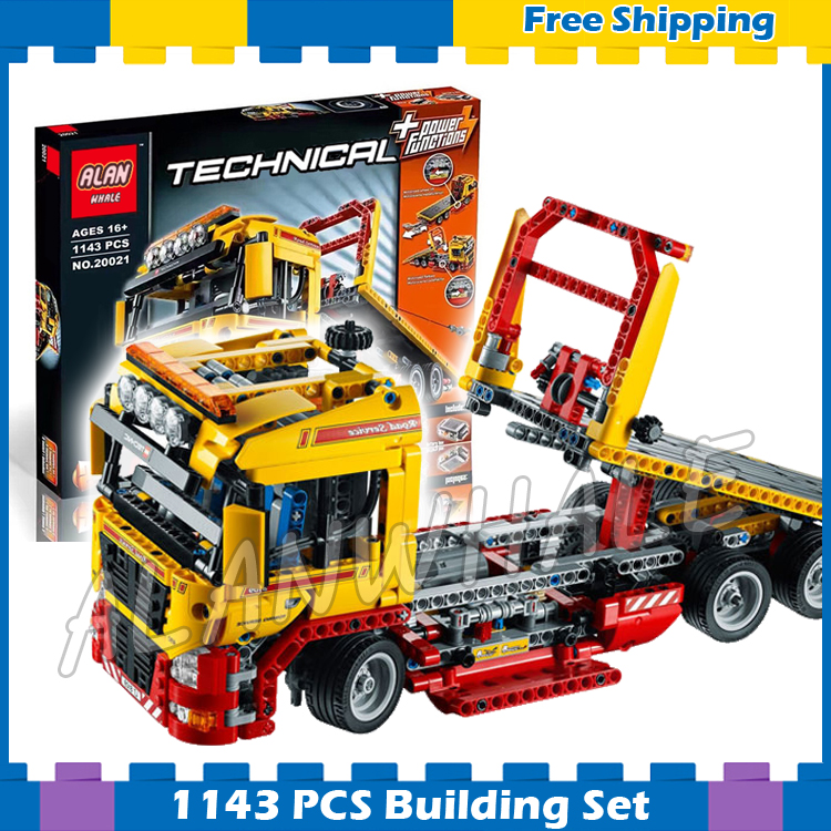1143pcs 2in1 Techinic Electric Flatbed Truck 20021 DIY Model Building Kit Blocks Transport Car Carrier Sets Compatible With lego 720pcs techinic 2in1 motorized container
