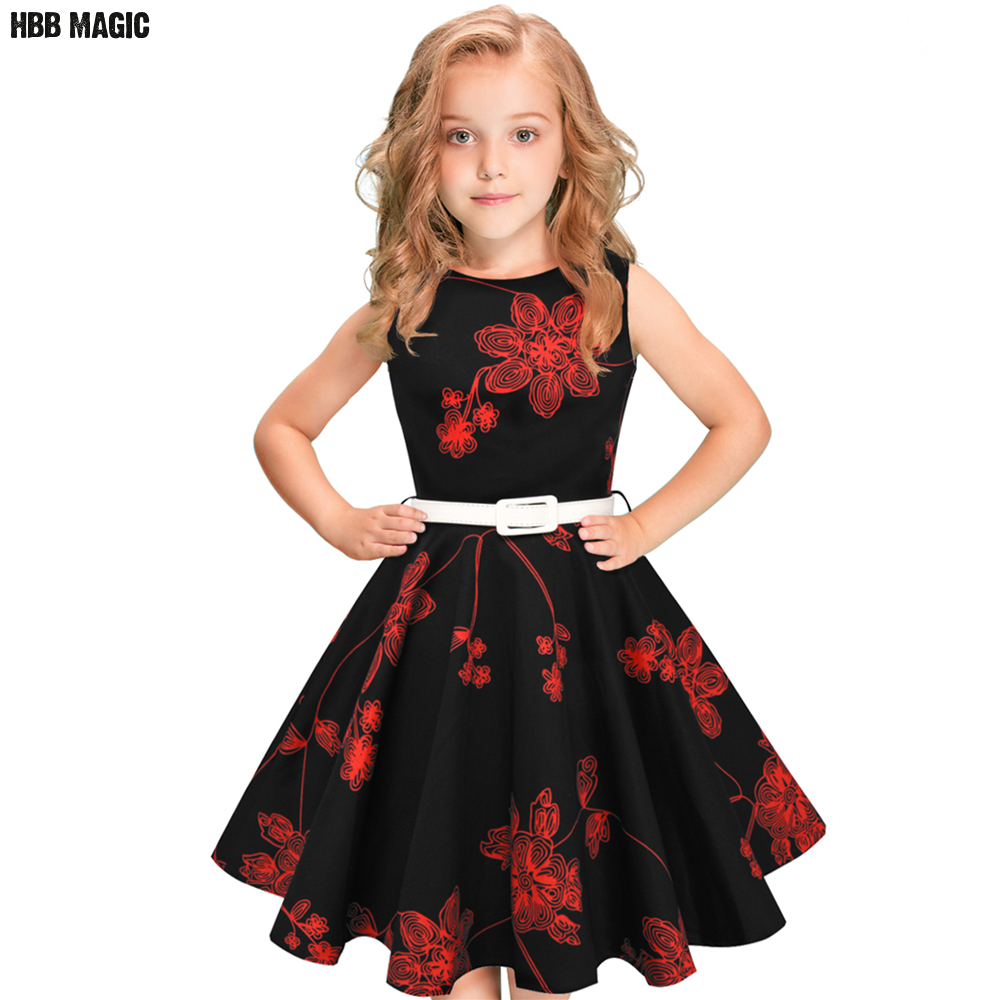 Summer Cotton Girls Dress Vintage Retro 1950s 60s Floral Print Kids Dresses For Girls Clothes Princess Children Party Dress 5-12