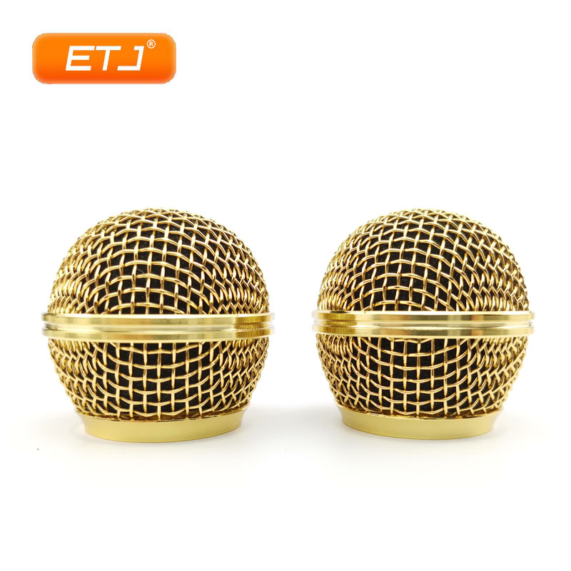 Microphone Relacement Polished Gold Ball Head Mesh 2pcs Microphone Grille Fits For Shure Sm 58 Sm 58sk Beta 58 Beta58a