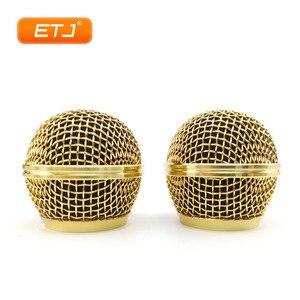 Image 2 - Mikrofon Relacement polerowane złoto głowica kulowa siatka 2 szt. Kratka mikrofonu pasuje do shure sm 58 sm 58sk beta 58 beta58a