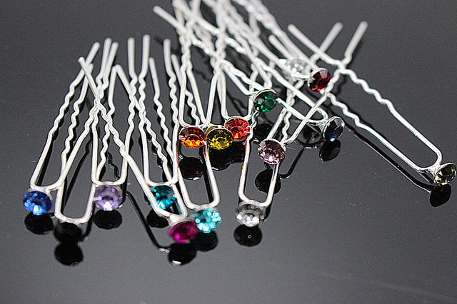 10 PCS Brides Hair Accessories Simple Hair Pins Rhinestone Hairpins Women Weddin