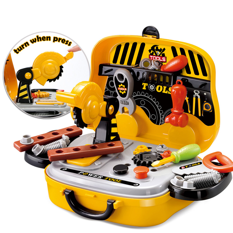 Pretend Play Construction Tools Toy for Boys Plastic Chainsaw Screws Hammer Carpentry Tool Toy Educational Set for Children
