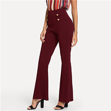 0caa79d0ff SHEIN Burgundy High Waist Button Detail Flare Leg Pants Women Solid Long  Trousers