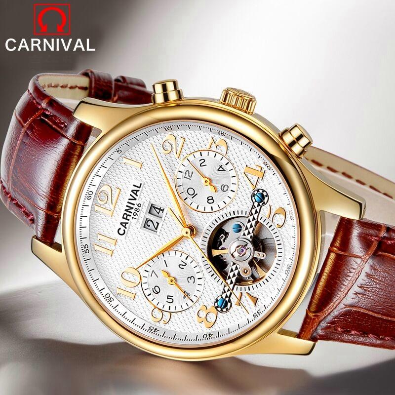2017 Karneval Skelett-tourbillon Männer Mechanische Uhr Top-marke Luxus Montre Classic Gold Wasserdichte Leder Relogio Masculino