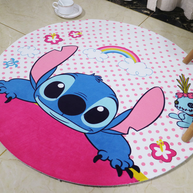 XINTOCH Stitch Carpet Kuromi Round Plush Rug Toys Living Room Bathroom Waterproof Non-slip Flannel Gift For Kids Drop Shipping