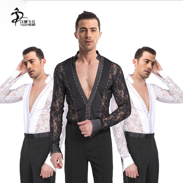 c4f37e208403c Men Lace Dress Ballroom T-Shirt Performance Latin Dance Leotard Practice  Wear Latin Jazz Dance Costumes