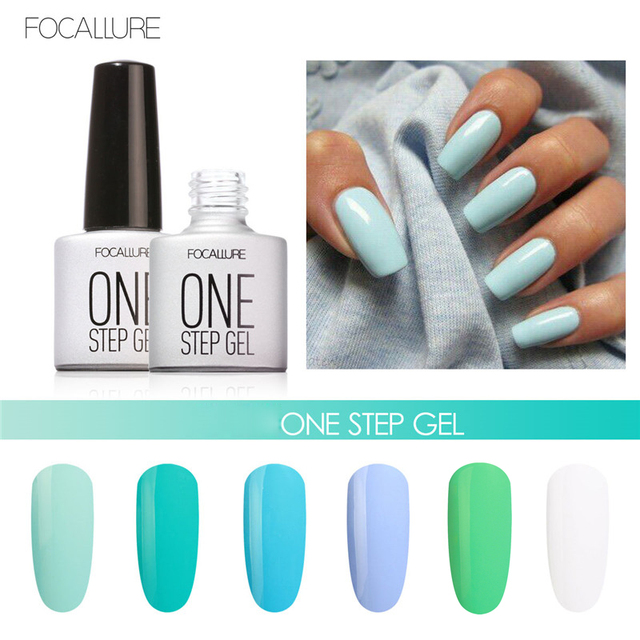 1pcs Brand Green Color Fast Dry One Step Gel Nail Polish Long Lasting Soak Off Focallure