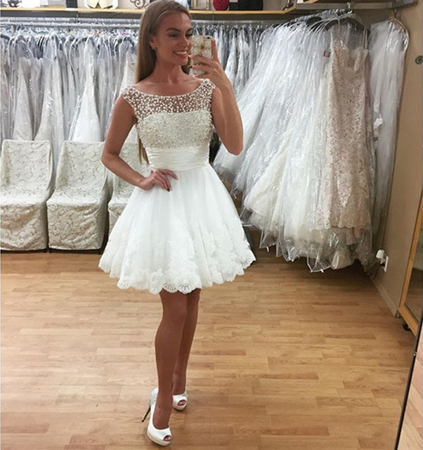 White Homecoming Dresses 2016 Scoop Zipper Short Mini Tulle Prom Party Gown Sexy Cockail Dresses