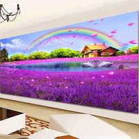 DIY 5D Diamond Mosaic, Landscape, Lavender, Rainbow,Diamond Painting Cross Stitch Kit, Diamond Embroidery,Needlework,Wall Decor