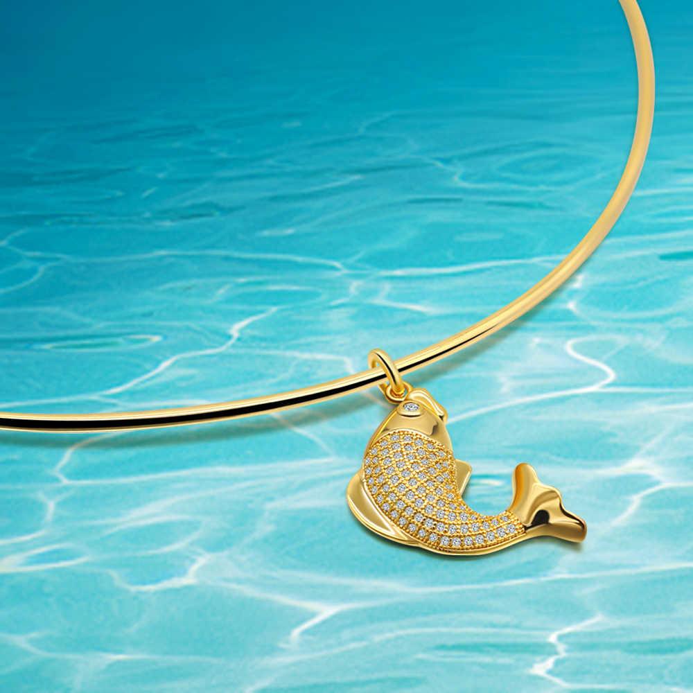 925 เงินสเตอร์ลิงสร้อยคอผู้หญิง Zircon ปลาสไตล์จี้ Rose Gold เครื่องประดับน่ารักแฟชั่น Lady สร้อยคอ