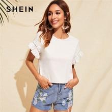 SHEIN белая футболка с кружевной отделкой и рюшами, женские топы, летняя повседневная Милая однотонная эластичная женская футболка с коротким рукавом