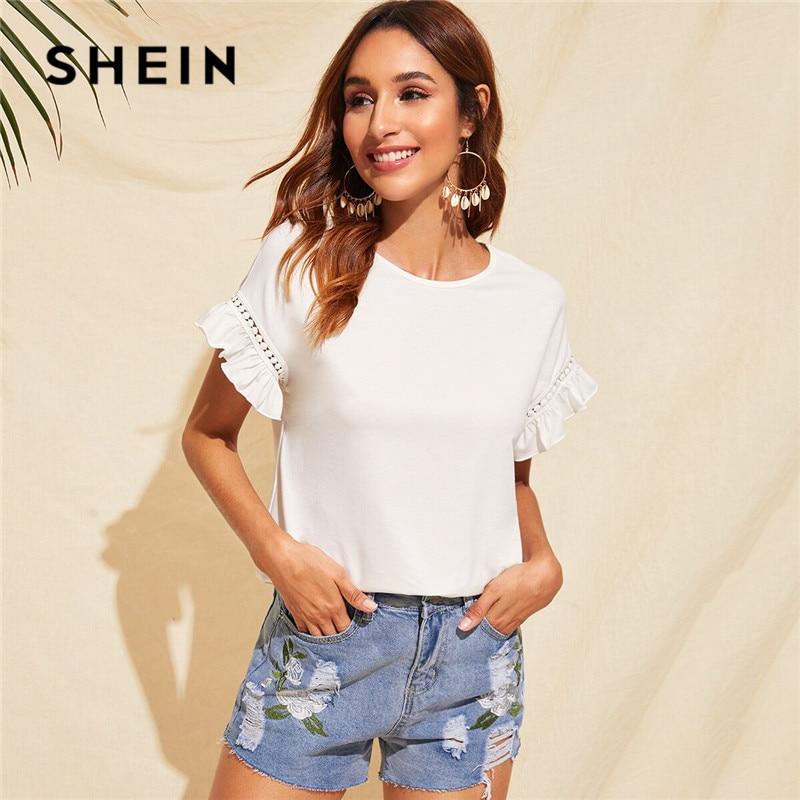 SHEIN Ruffle Trim Guipure Lace Detail White T Shirt Ladies Tops Summer Casual Cute Solid Short Sleeve Stretchy Women Tshirt