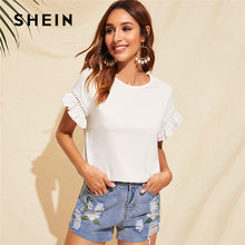 SHEIN Rüschen Trim Guipure Spitze Detail Weiß T Shirt Damen Tops Sommer Casual Nette Solide Kurzarm Stretchy Frauen T-shirt(China)