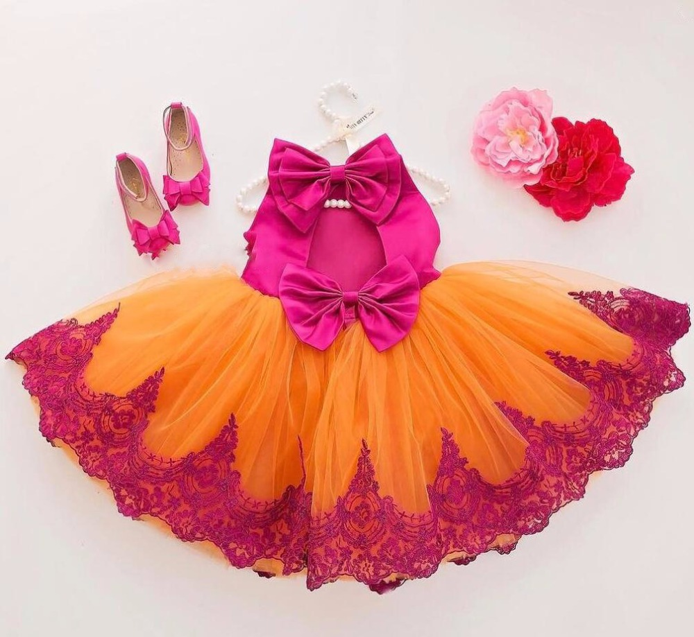 Cute fashion royal red O-neck orange tulle children clothes dress A-line red appliques red bow and draped birthday flower rocks red mock neck lettuce edge hem mini dress