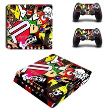 Amine Graffiti Vinyl Decal Skin PS4 Slim Sticker Full Cover Warp for Playstation 4 Slim Console and Two Controller