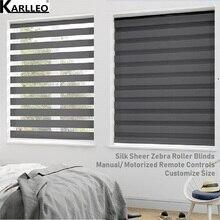 Высокое качество День Ночь шелковые рулонные шторы с зебровым принтом оттенков BL1 узор настроить размер готовой продукции