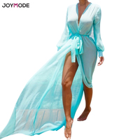 JOYMODE Beach Dress Women Chiffon Long Sleeve Mesh Sheer Bikini Cover Ups Swimwear Blouse Sundress Pareos Praia Sun Protection