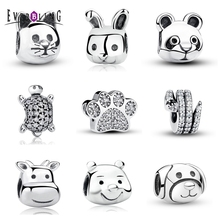 Everbling Jewelry Love Cute Animal 100% 925 Sterling Silver Charm Beads Fits European  Charms Bracelet