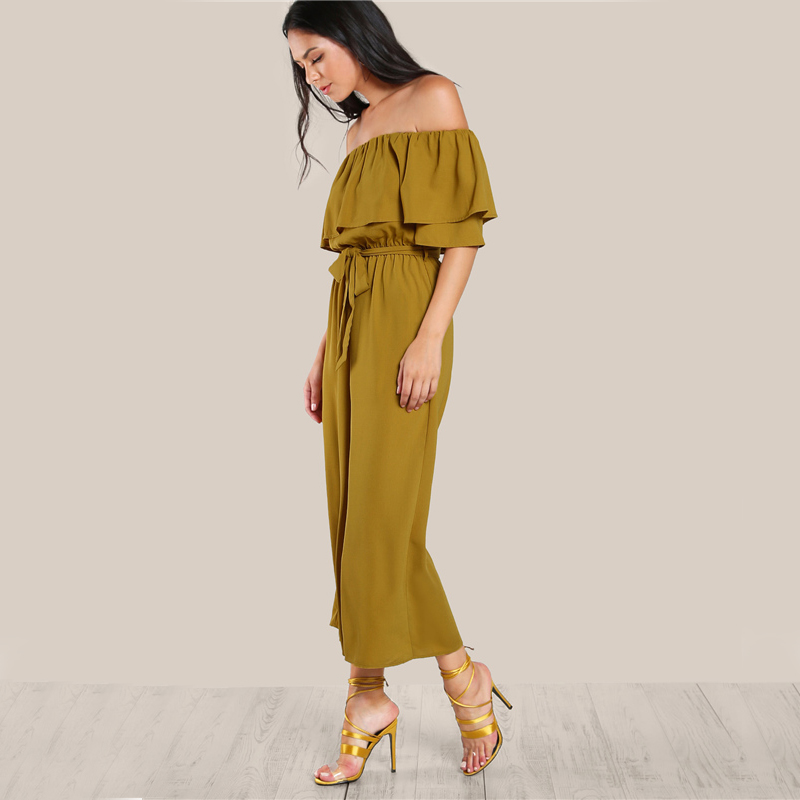 COLROVIE Sexy Flounce Culotte Jumpsuit Women Off Shoulder Self Tie Yellow Jumpsuits 2017 New Ruffle Half Sleeve Elegant Jumpsuit 7