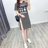 2017 New Easy Fit Stripped Maxi Short Sleeve T Shirt Slit T Shirt The Spring Timi