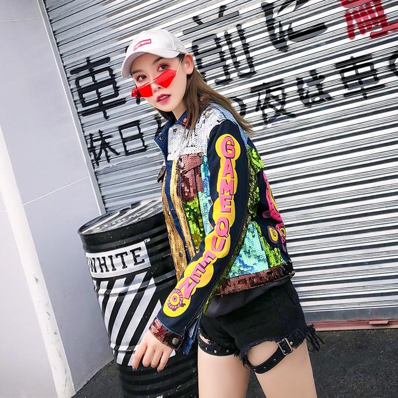 De 2018 Jean Punk Manches Printemps Femme Lt689s40 Moto Lâche Fille Denim Coloré Manteaux À Longues Paillettes Veste Bloc Couleur Manteau v0wOmN8n