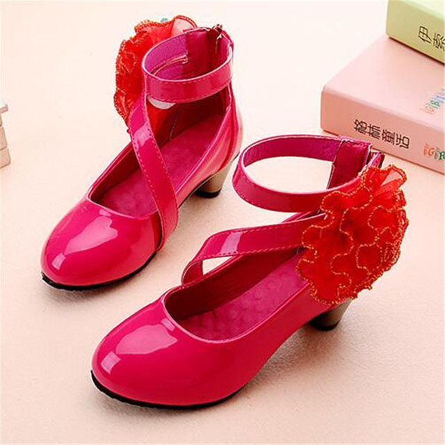 NEW Children Dance Shoes High-heeled Leather Shoes Girls Princess Fashion Party Moccasins Baby Kids Single Shoes 04