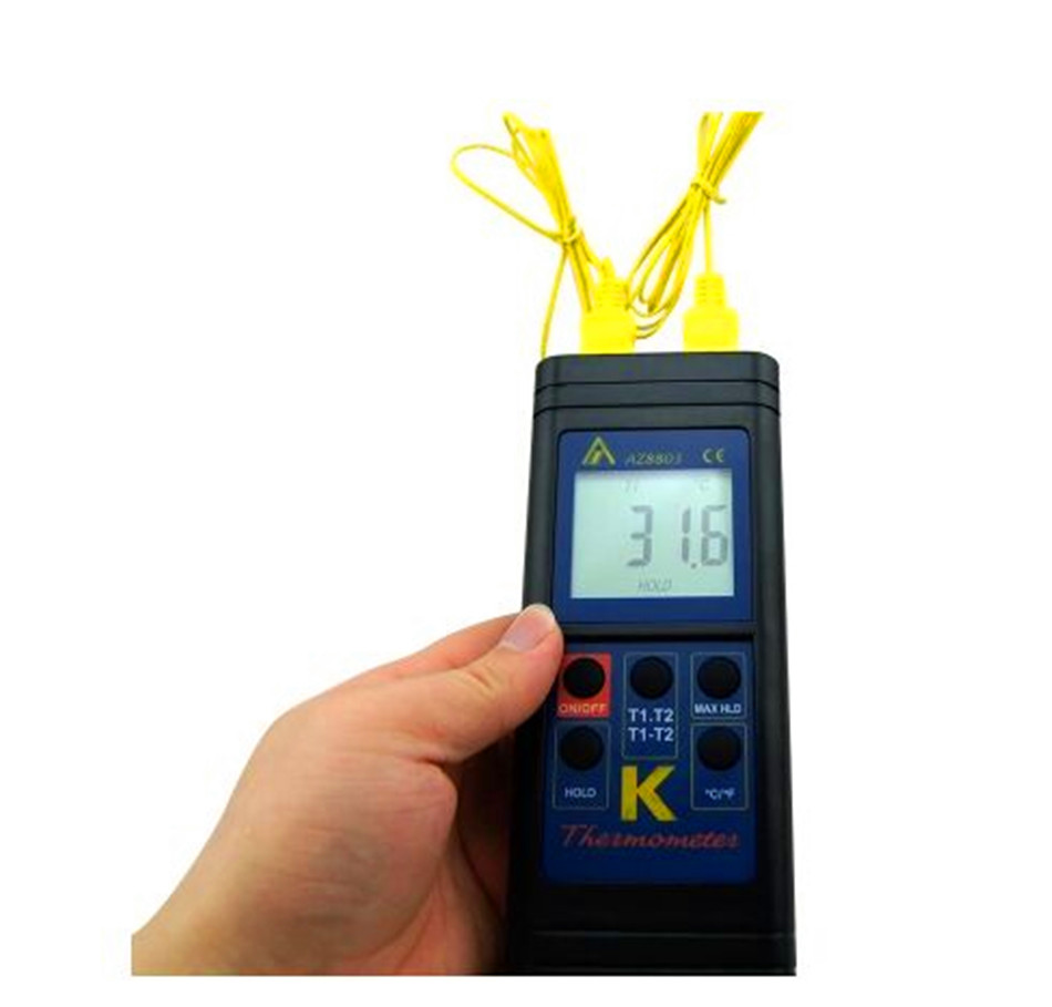 Handheld Digital Dual K Type Thermocouple Thermometer Temperature range 50 ~ 1300 degree