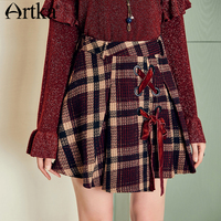 ARTKA 2018 Autumn and Winter Women Vintage Plaid Skirt Bandage Irregular Hem A line All match Mini Skirt QA10689Q