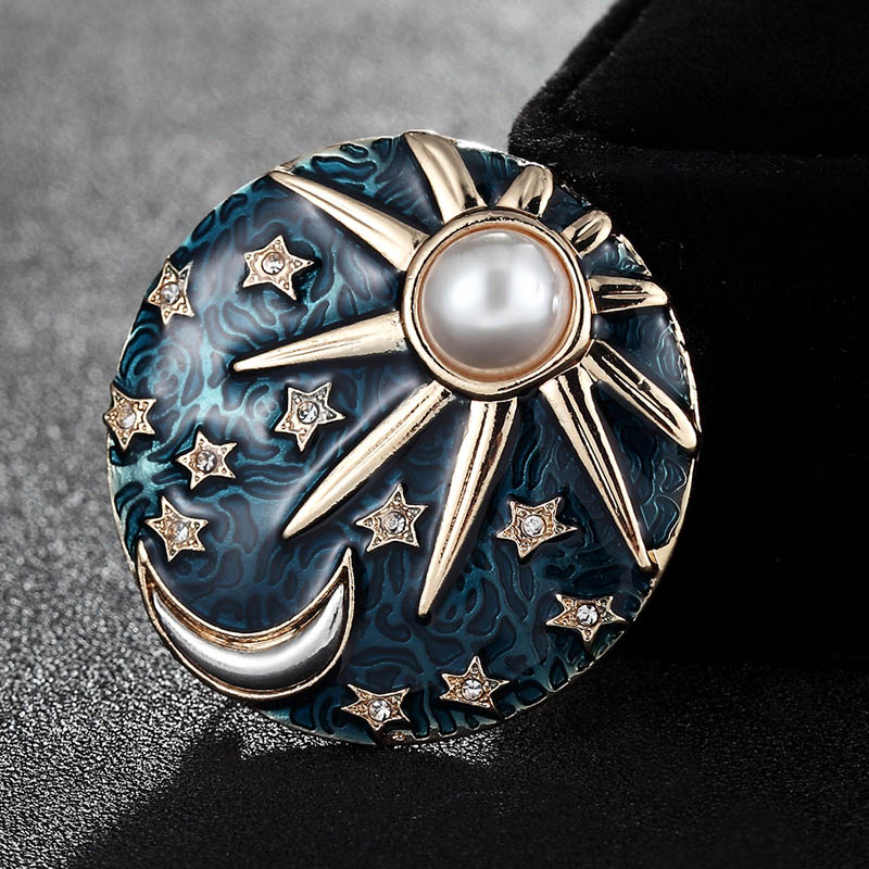 Korea New Design Enamel Moon Sun Hijab Pin Dress Sweater Accessories Couple Women Kids Suit Collar Brooches Rhinestone Pins