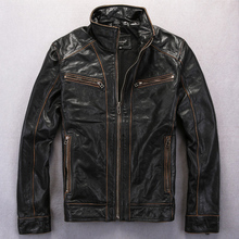 2014 New Stand Collar Short Paragraph Men's Leather Jackets Edging Do The Old Motorcycle Leather Jacket