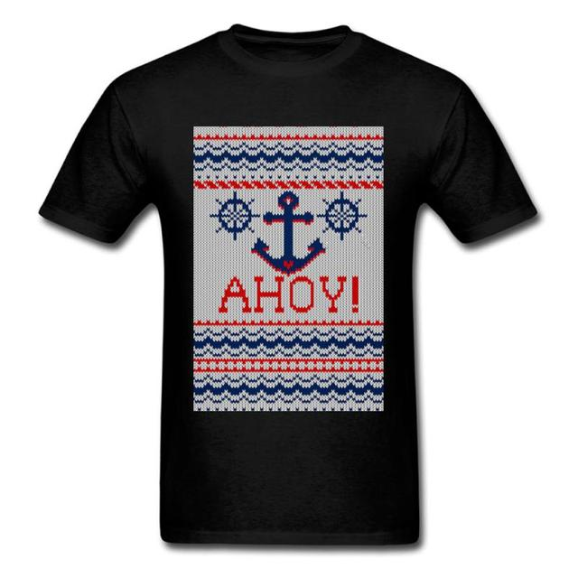Zwarte Kersttrui.Kerst Trui Patroon Ontwerp Mannen Zwarte T Shirt Ahoy Nautische
