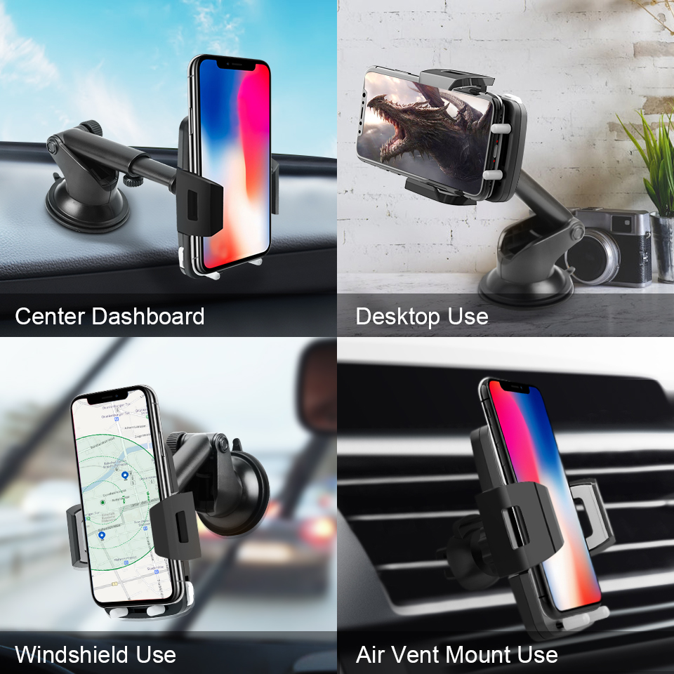 Metrans Car Phone Holder For iPhone 360 Degree Rotation Windshield Sucker Stand Holder For Mobile Phone Telescopic Phone Holder in Phone Holders Stands from Cellphones Telecommunications