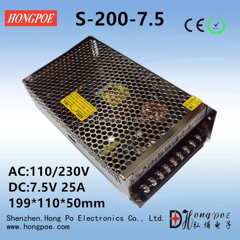 Best quality 7.5V 25A 200W Switching Power Supply Driver for LED Strip AC 100-240V Input to DC 7.5V 36pcs best quality 12v 30a 360w switching power supply driver for led strip ac 100 240v input to dc 12v30a