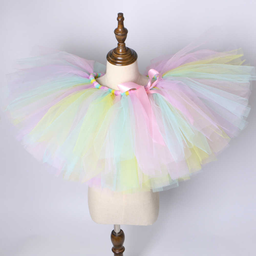 d68d261b88538 1 Set Pastel Rainbow Unicorn Tutu Skirt Baby Kids Dance Tutu Birthday Party  Tulle Skirt Girls Children Halloween Unicorn Costume
