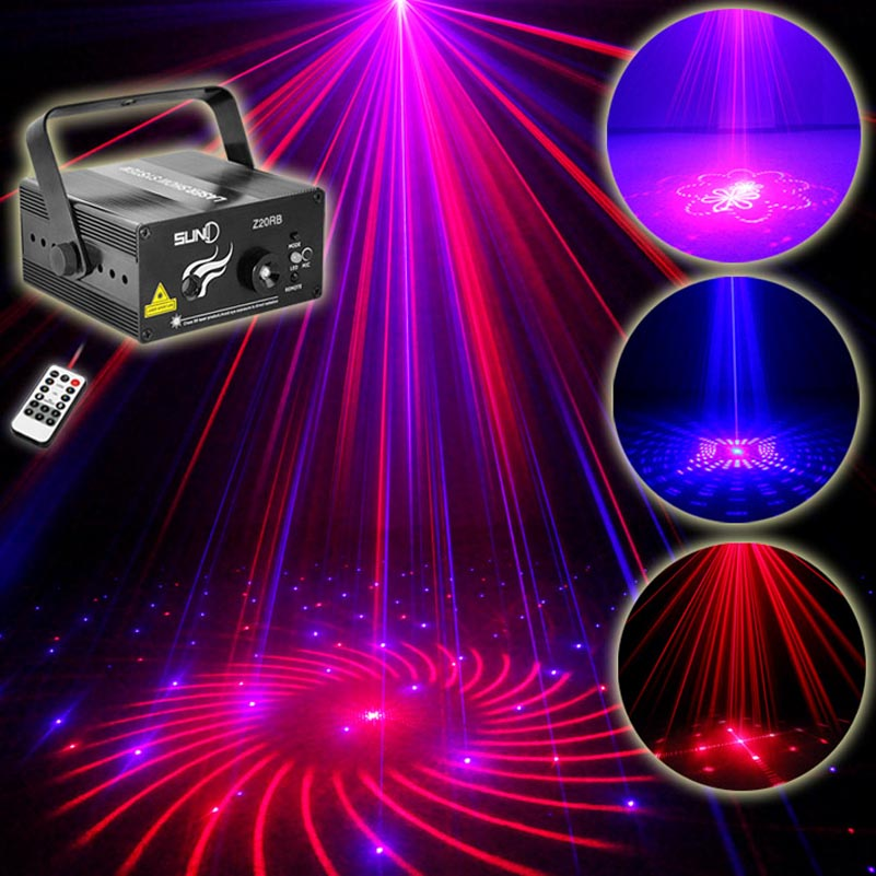 Sound Activated Laser Project Show Lighting 20 RB Patterns 3W Blue Led Dj Party Lights For Disco KTV Club Birthday Events IR