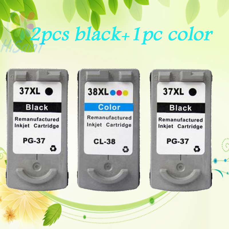 ФОТО Hot 2pcs bk+1color For Canon PG-37 CL-38 Ink Cartridges PG 37 CL 38 compatible IP1900/2580/2600 MP140/160/190/210/220printer