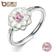 BAMOER Popular Party Finger Rings White Flower Pink Stone 925 Sterling Silver Ring for Women Fine Jewelry Size 6,7,8 PA7177