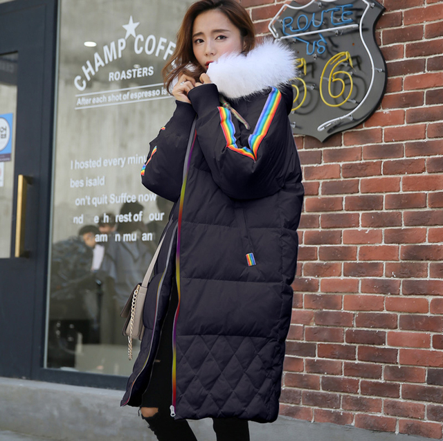 dd20bb97d6 New Arrival Women's Winter Jacket Rainbow Design Knee Length Long Parka  Women Down Coat Hooded With Fur Collar S-XL, White Black