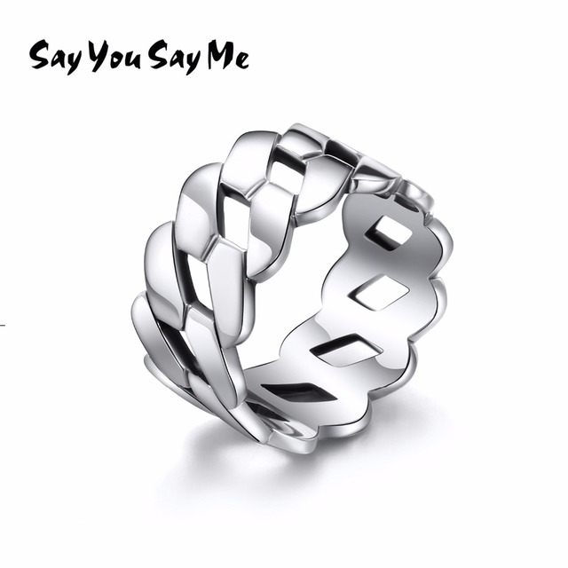 925 Sterling Silver Luxury Chain Ring Wedding&Engagement Punk Wholesale Unisex C
