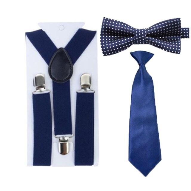 5d7319c38bb5 Children Kids Toddler Adjustable Necktie Navy Blue Bowtie Ties Suspenders  Set Party 1-8 Years