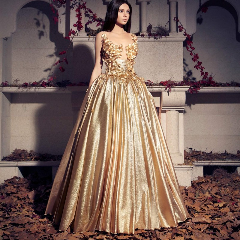 Popular Gold Long Dress Gown-Buy Cheap Gold Long Dress Gown lots ...