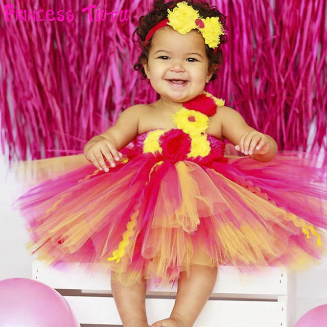 Cute Princess Baby Girl Birthday Tutu Dress Hot Pink And Yellow Infant Toddler 1ST Party Dresses Kids Clothes Set