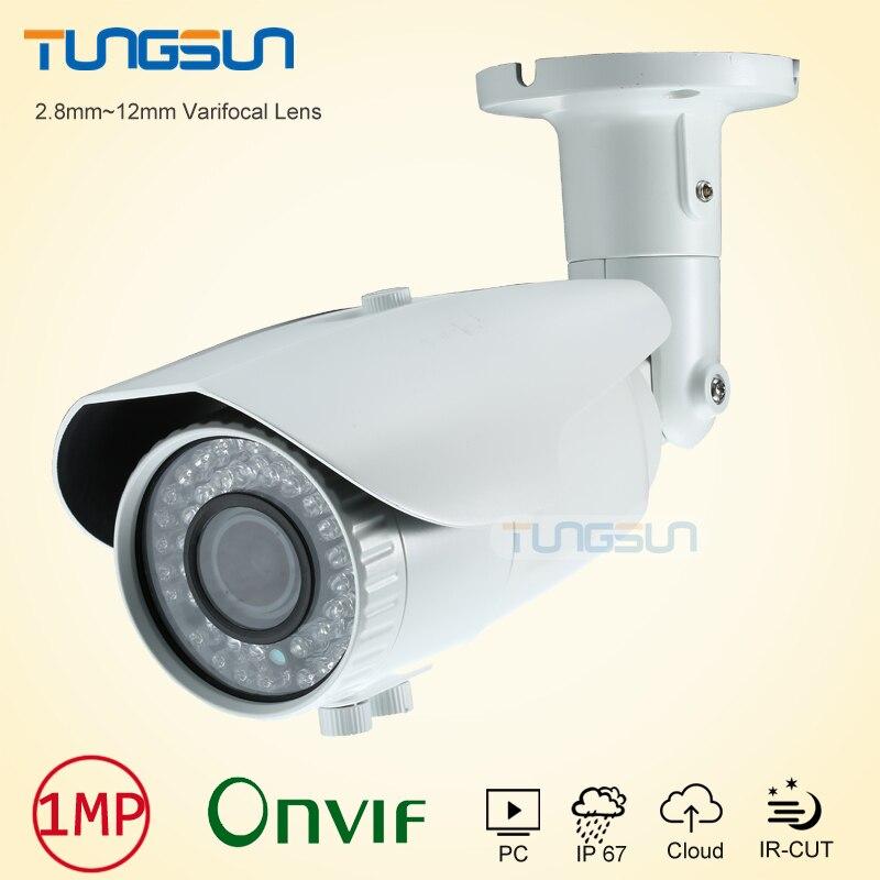 ФОТО New 720p Zoom Varifocal 2.8~12mm Lens 960P Network IP Camera Onvif H.264 Bullet Waterproof 42 IR Security White Camera