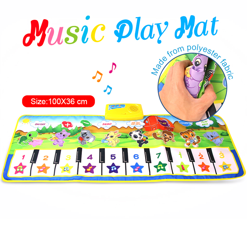 Kids Toy 100 X 36cm Play Mat Record Rug 8 Instruments Tone Piano Carpet Early Educational Toys For Kids Animals Theme Musical