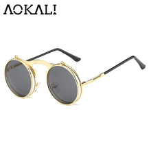 AOKALI Vintage Steampunk Sunglasses Round Women Retro Sunglasses Plain Mirror Metal Frames Sunglasses Retro Men Women's Glasses