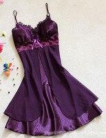 Women Sexy Silk Satin Night Gown Sleeveless Nightdress Lace Sleep Dress V Neck Nighties Night Shirt